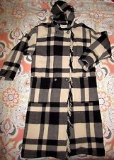 Vintage LL Bean Shadow Plaid Wool Long Coat Hooded Cloak Lrg Jacket White Black