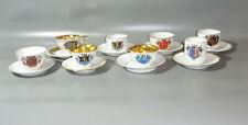 8 alte Porzellan Sammelgedecke Mokka Tasse Wappen handgemalt Marken Vintage