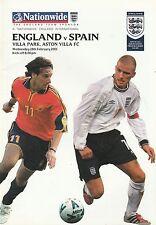 ENGLAND v SPAIN. International Friendly Match 2001