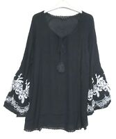 New Evans Navy Blue Boho Embroidered Sleeve Tunic Top Blouse - Size - 14 - 26