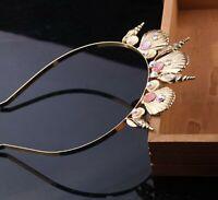 Women Girl Mermaid Sea Conch Shell Metal Gold Hair Band Headband crown Prop Hoop