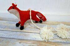 Anthropologie Red Fox Christmas Tree Ornament Felt Felted