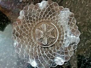 VINTAGE BAGLEY GLASS WAVY DISH PLATE FISH SCALE DESIGN