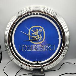 Lowenbrau Beer Bar Advertising Man Cave Neon Clock Sign