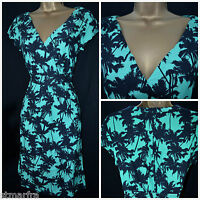 EX WHITE STUFF TEA DRESS LENA DRESS TUNIC SHIFT BLACK GREEN PALM TREE SZ 8 - 14