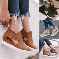 Womens Wedge Hidden Heels Cut Out Sneakers Trainers Sandals Zipper Casual Shoes