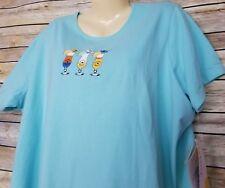 Sunberry Smoothie Womens Shirt Sz 2X Turquoise Blue Umbrella Drinks Short Sleeve