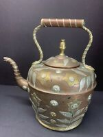 Antique 19TH C. Moroccan Copper Kettle Tea Pot W/ Mounted Floral Embossed Brass