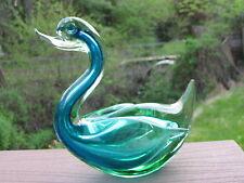Vintage  Blue & Green Art Glass Huge Duck Figurine Murano ?