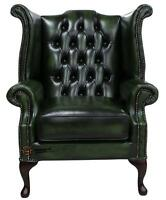 Chesterfield Armchair Queen Anne High Back Wing Chair Antique Green Leather