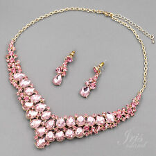 Women Gold Plated Pink Crystal Wedding Jewelry Set Necklace Earrings 08201 Prom