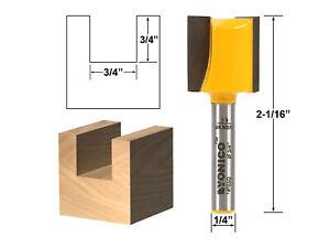 "3/4"" Diameter X 3/4"" Height Straight Router Bit - 1/4"" Shank - Yonico 14955q"