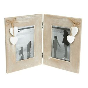 "Ashley Farmhouse Rustic Wood Standing Double Photo Frame 4""x6"" Shabby Chic"