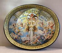 Vintage Metal Anheuser-Busch Beer Tray Oval Angel Cherubs St Louis Mo