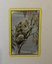 Vintage Australian Animal Playing Swap Card, Koala And Joey, Gum Tree Euc