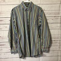 Paul Fredrick Men Shirt Sz M Long Sleeve Button Up Color Striped Finest Cotton