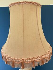 Fancy Retro 1980's Peach De Luxe Bell Shape Tassel Table Lampshade.