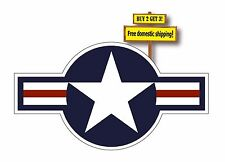 """USAF Roundel Decal Aircraft sticker 6x11"""" United States Air Force FLG103lg"""