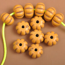 100PCS  charm plastic yellow  pumpkin space beads Jewelry Findings bead 7x10MM