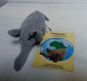 "Princess Soft Toys Weebeanies, Luanda Elephant, 4"" Grey Plush Stuffed, NEW W/TAG"