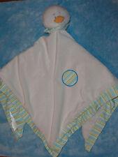 Baby Ganz White Duck Security Blanket Satin Stripe Trim Dots Blue Green