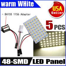 5 X Warm White RV T10 &1156 BA15S 48-SMD Panel Dome Map Interior LED Light Bulbs