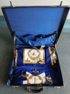Big Lot Vintage Masons Aprons Sashes Medals in Case 50 Years Freemasons