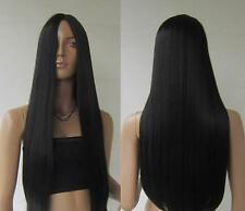 """Women Hair Wig Black 28"""" Long Cosplay Party Wigs Heat Resistant Full Straight"""