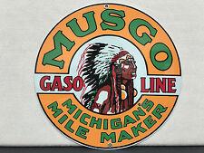 MUSGO michigan mile maker garage man cave  gasoline metal round sign