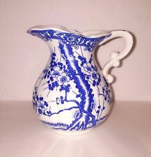Blue White Chinese Asian FLoral Jug Fluted Spout Vase - Cherry Blossom