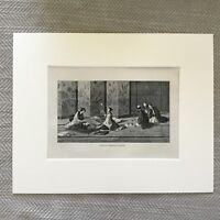 1875 Antique Print Engraving Japanese Funeral Shinto Ceremony Japan