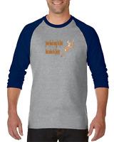 Gildan Raglan T-shirt 3/4 Sleeve Deer Hunter Your Food Fast Mine Faster Hunting