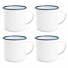 White Enamel Mugs Cups Retro Camping Outdoor Coffee Tea Mug Cup 150ml x4
