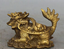 Chinese Bronze Carved FengShui Wealth Money Dragon Turtle Animal Statue 01