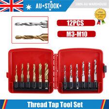 12pcs M3-M10 Hex Shank HSS Screw Thread Tap Drill Bits Cutting Tool Set Kit AU