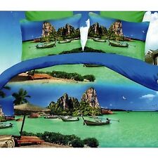 3D Bedsheet Modern Beach Theme Single Queen King Fitted with Pillowcase