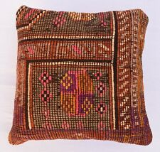 16''x 16'' Bohemian Cushion Case ,Vintage Pillow Cover, Tribal Kilim Pillowcase