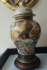 A Vintage Ceramic Bird& Wisteria Vase Kutani Table Lamp with Wooden Base, Japan,
