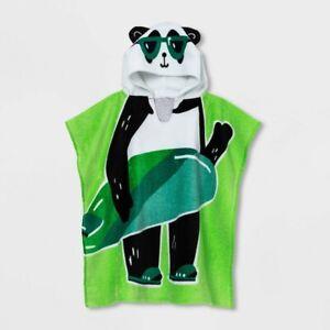 Sun Squad Panda Kids Hooded Poncho Beach Bath Towel UPF 40 Green New