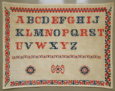 C. 1910 ATTRACTIVE OLD GERMAN ALPHABET SAMPLER CROSS STITCH BORDERS