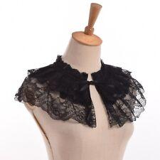 Vintage Women Black Lace Detachable Collar Victorian Mini Cape Jabot Neckwear