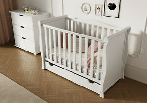 White Sleigh Mini Cot Bed with Drawer + ECO HD Airflow Fibre Mattress 120x60x10
