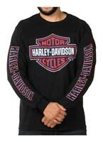 Harley-Davidson Men's RWB Bar & Shield Long Sleeve Crew Neck Shirt - Black (5XL)
