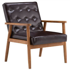Studio Wooden Accent Chair Armchair Faux Leather Upholstered Lounge Chair Brown