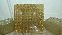 Hobbs Brockunier / Wright Daisy and Button Square Pressed Glass Bowls Plate EAPG