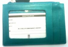 RFID blocking ID credit card protection case 7416 aqua zipper change wallet