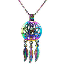 C731 Lotus Flower RAINBOW color Dream Catcher no Oyster Cage Locket Necklace 18""