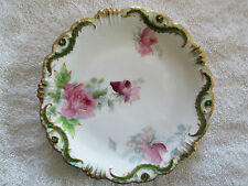 Vintage Coronet Limoges France 7 1/8 Inch Plate Pink & Purple Roses Hand Painted