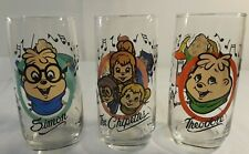 Lot of 3 Chipmunks glass tumblers Alvin Theodore Chipettes 1985 Hardees EUC