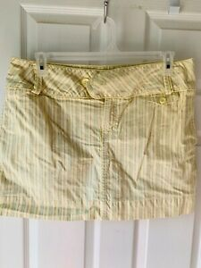 fashion bug vintage WOMENS YELLOW/PURPLE/GREEN STRIPED SKORT.  SIZE 14    NEW